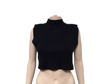 black mock neck crop top / knit cropped top boxy top sleeveless
