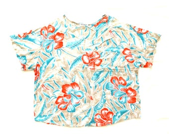 floral print rayon boxy top with pocket / short sleeve blouse pocket t shirt oversized