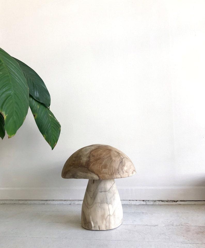 Miraculous Wooden Mushroom Stool Solid Teak Organic Wood Stool Side Table Boho Natural Stool Occasional Round Accent Table Hand Carved Australia Inzonedesignstudio Interior Chair Design Inzonedesignstudiocom