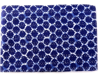 Indigo Blue Kantha Quilt throw Scalloped Blanket,Baby Quilt,embroidered quilt,throw,Bed cover Bedspread Twin size,quilt Bed Cover Handmade