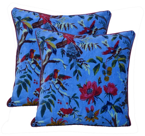 Brilliant Velvet Fabric Bird Floral Print Indian Handmade Home Decor Cushion Pillow Cover Bohemian Pillow Couch Sofa Cover Bedding Throw Hippie Boho Ncnpc Chair Design For Home Ncnpcorg