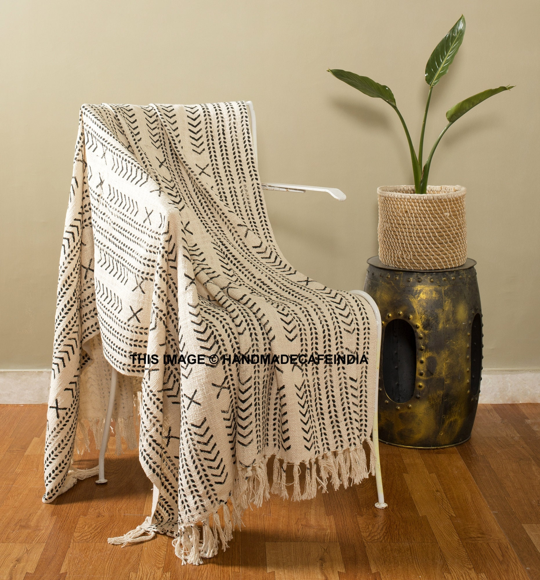 Details about  /Ethnic Cotton Mudcloth Throw Handloomed Decorative Throw Blanket With Tassels