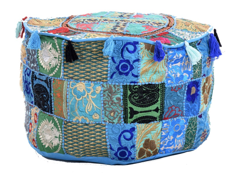 Pouf Cover Indian Handmade Cotton Fabric Embroidered Patchwork Round Ottoman Hippie Pouf Seat Soft Furnishings Bohemian Bean Bag Home Decor