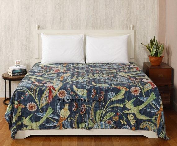 Indian Cotton Queen Size Kantha Quilt Blanket Bedding Bedspread Decorative Throw
