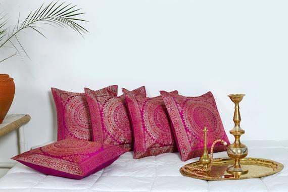 "Indian Silk Brocade Euro Sham Pillow Cushion Cover Sofa Bed Throw Decor 26/""x 26/"""