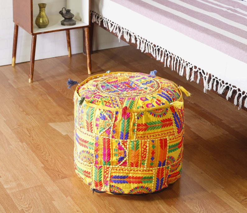 Strange 18 Round Ottoman Pouf Cover Vintage Cotton Fabric Embroidered Interior Decor Footstool Bohemian Indian Handmade Ethnic Seating Stool Throw Creativecarmelina Interior Chair Design Creativecarmelinacom