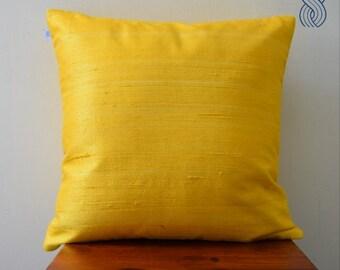Yellow Raw Silk Cushion Cover