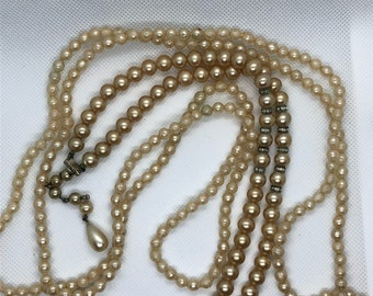 Pearl Necklace Vintage Long Cream Glass Pearl Bead Flapper Necklace Lot of 3