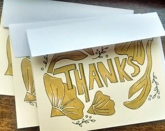 3 block-print Thank You cards