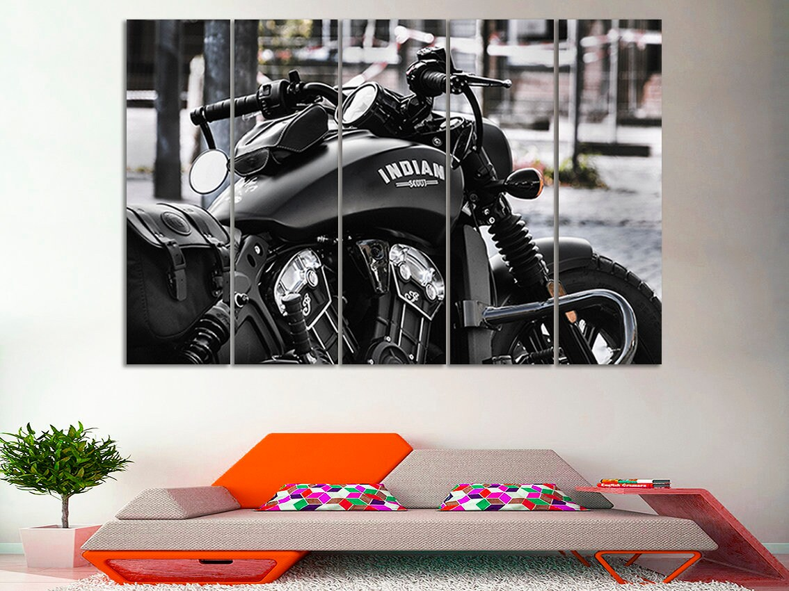 Motorcycle canvas art motorcycle print motorcycle wall art motorcycle poster motorbike wall decor motorcycle indian print large canvas gift
