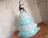 HTF Vintage JAJ Pyrex Complete Set Of Duck Egg Gooseberry Cinderella Mixing Bowls 1959