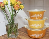Vintage American Pyrex Set Of Three Butterfly Gold Casserole Dishes 1971.