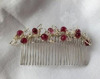 Handmade Silver and Raspberry Bead Hair Comb