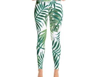 ea881725a946a Palm Leaf Yoga Leggings- Palm leaf Yoga Pants, Topical Yoga Pants, Cute yoga  pants, Palm leaves