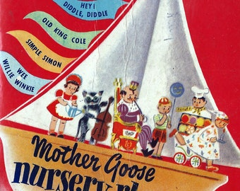MOTHER GOOSE NURSERY Rhymes, with 5 3-dimensional Spring-Ups (Pop-up) circa 1950s