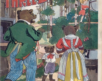 THREE BEARS, 1912, fairy tales, Goldilocks or Goldenlocks