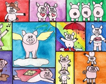 Pigs, Pigs, Pigs...Watercolor Pigs, Bright and Colorful, Silly, Digital Download, Printable