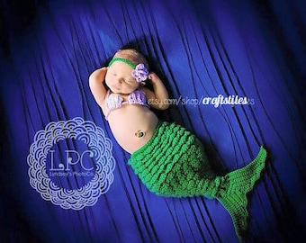 Baby Mermaid Crocheted Photo Prop