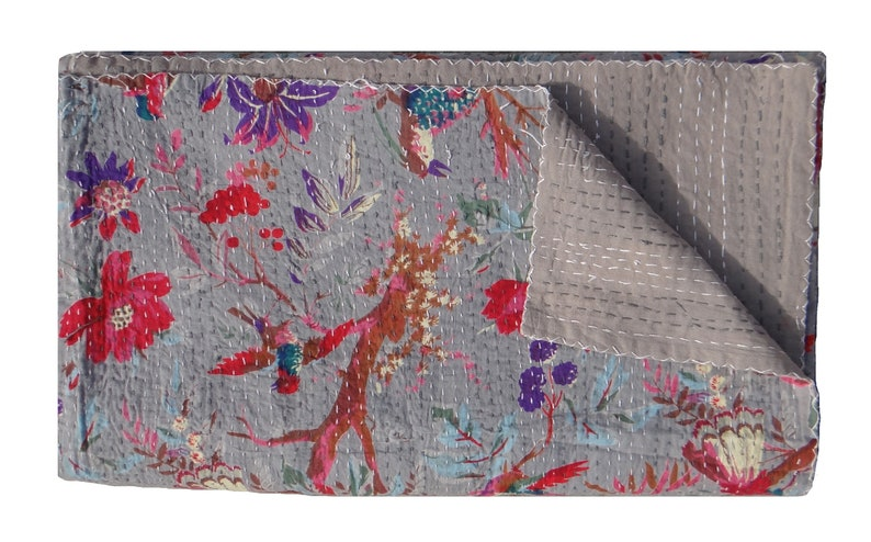 Indian Kantha Quilt Pink Bird Print Cotton Bedspread Ethnic Vintage Throw Gudri Quilts, Bedspreads & Coverlets