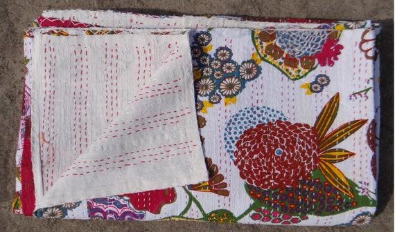 Fruit Print Kantha Quilt Bedspread White Multi Twin Size Kantha Quilt Handmade
