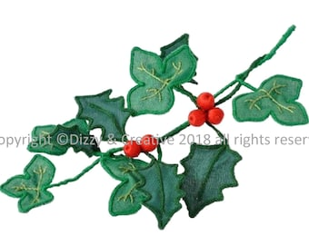 3D Embroidery - Holly & Ivy