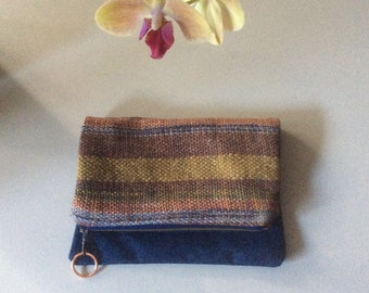 Envelope Clutch ~ Handwoven Textile with Denim