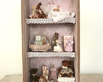Dollhouse Miniature, Baby pink nursery cabinet in 1:12 scale