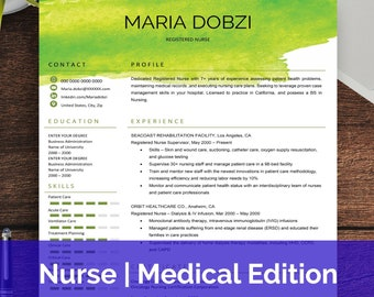 medical resume template for word nurse template wordnurse etsy