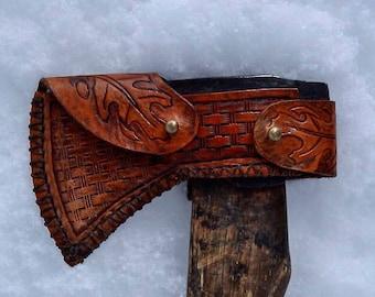 Leather Tooled Axe Sheath