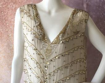 1980's silk Art Deco beaded dress
