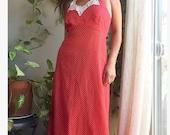 1970 39 s red polka dot halter maxi ruffle lace party dress