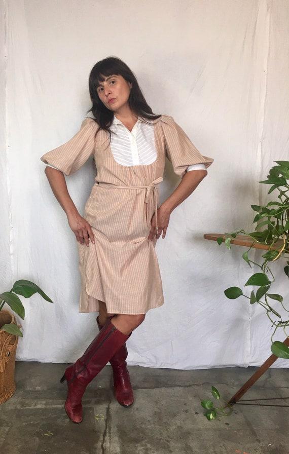 Vintage 1970's You Babes shirt dress with waist ti