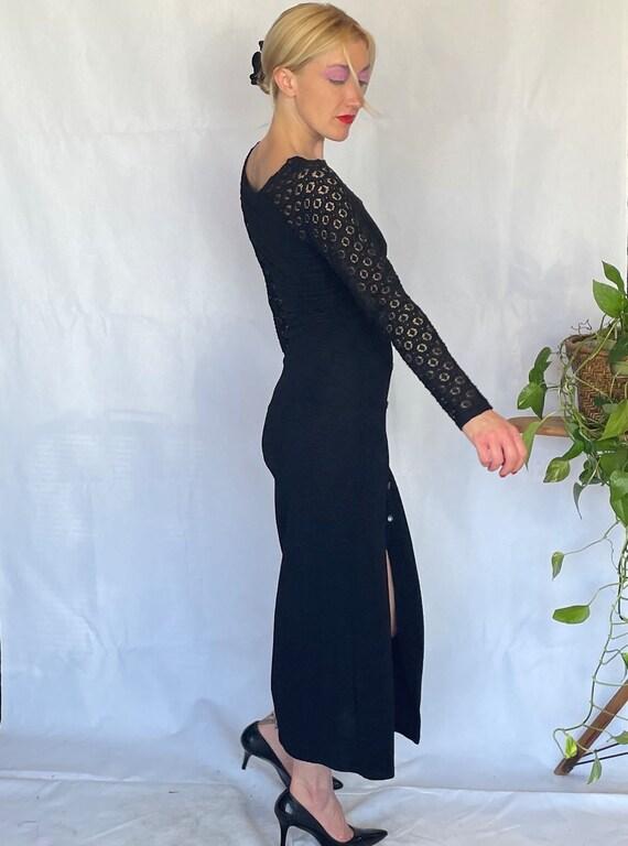 Vintage 90's sleek black body con dress - image 8