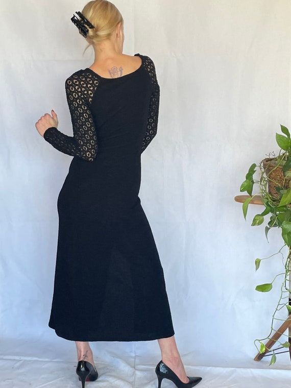 Vintage 90's sleek black body con dress - image 6