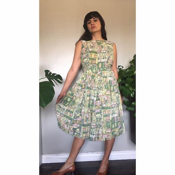 Vintage 1950's handmade cotton garden lawn dress