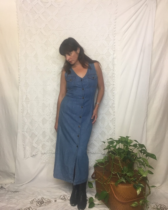 Vintage 1990's denim western fitted jumper dress