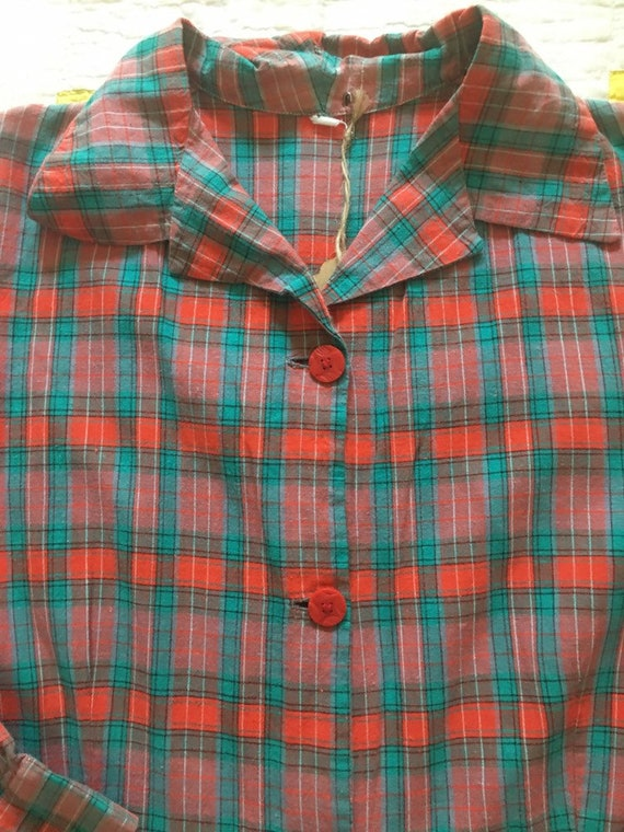 Vintage 1930's or 1940's red plaid French workwea… - image 9