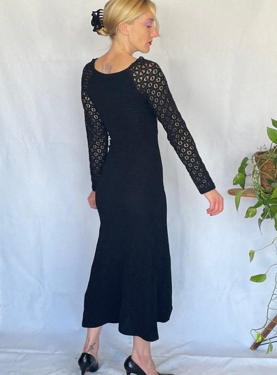 Vintage 90's sleek black body con dress - image 3