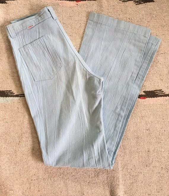 1970's baby blue straight leg high waisted Dittos