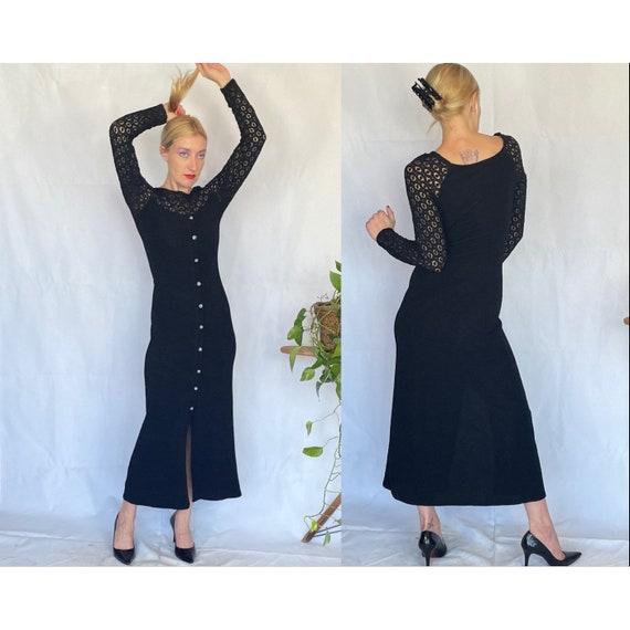 Vintage 90's sleek black body con dress - image 1