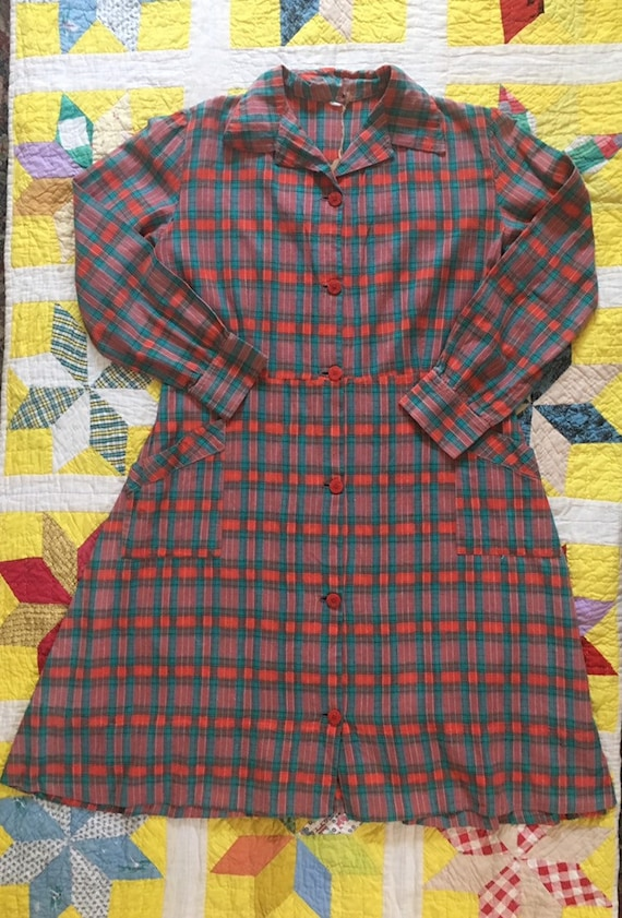 Vintage 1930's or 1940's red plaid French workwea… - image 8