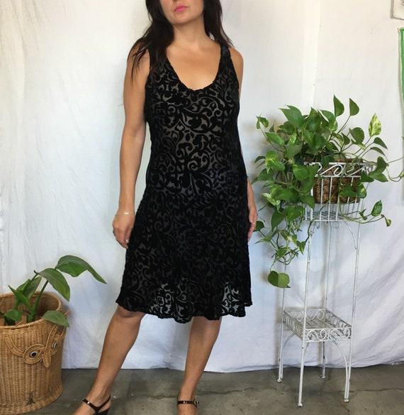 Vintage rayon silk black velvet burnout slip dress