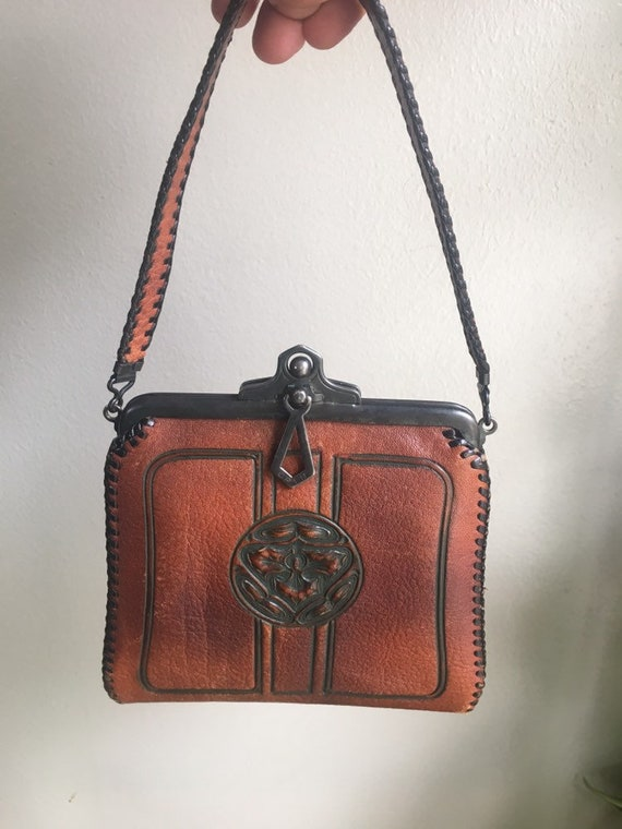 Early 1920's leather hand-tooled Art Nouveau Art D