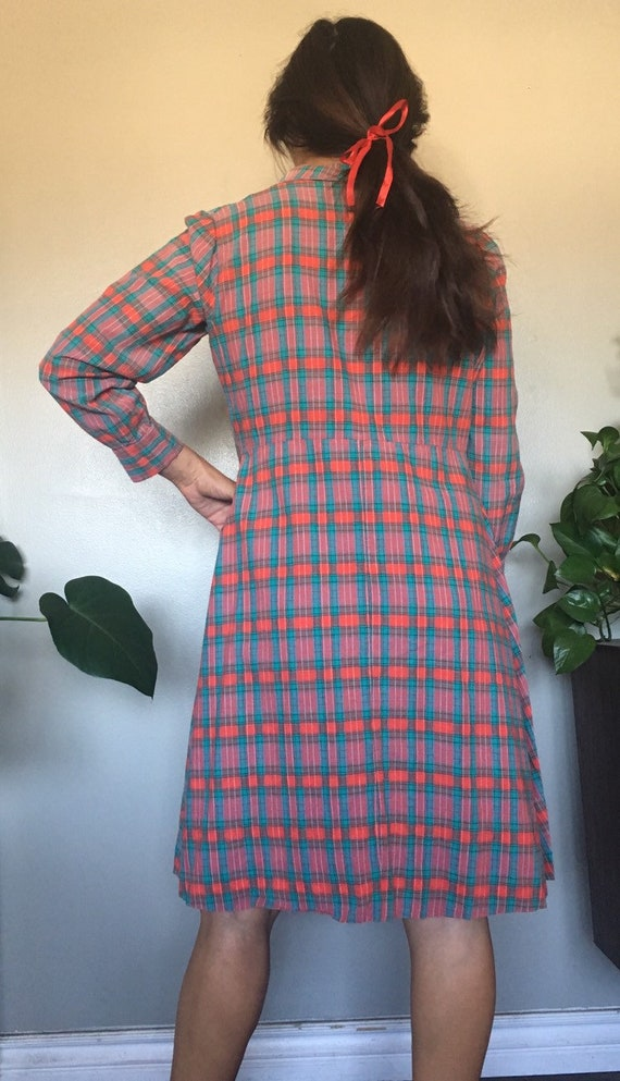 Vintage 1930's or 1940's red plaid French workwea… - image 6