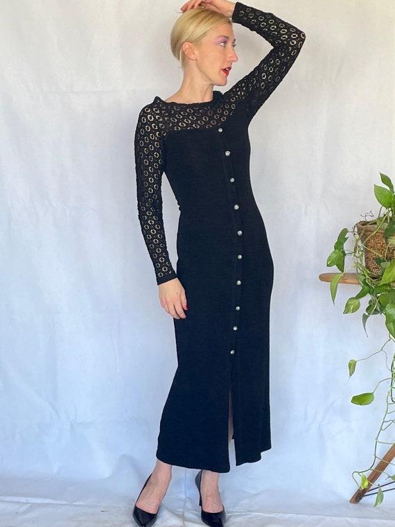 Vintage 90's sleek black body con dress - image 9