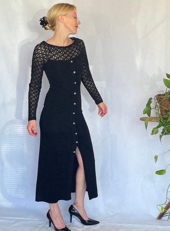 Vintage 90's sleek black body con dress - image 2