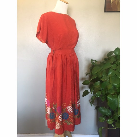 Vintage 1980's Jack Mulqueen red silk skirt and to