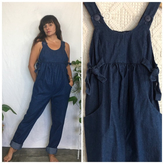 Vintage 1970's maternity dark denim jumpsuit