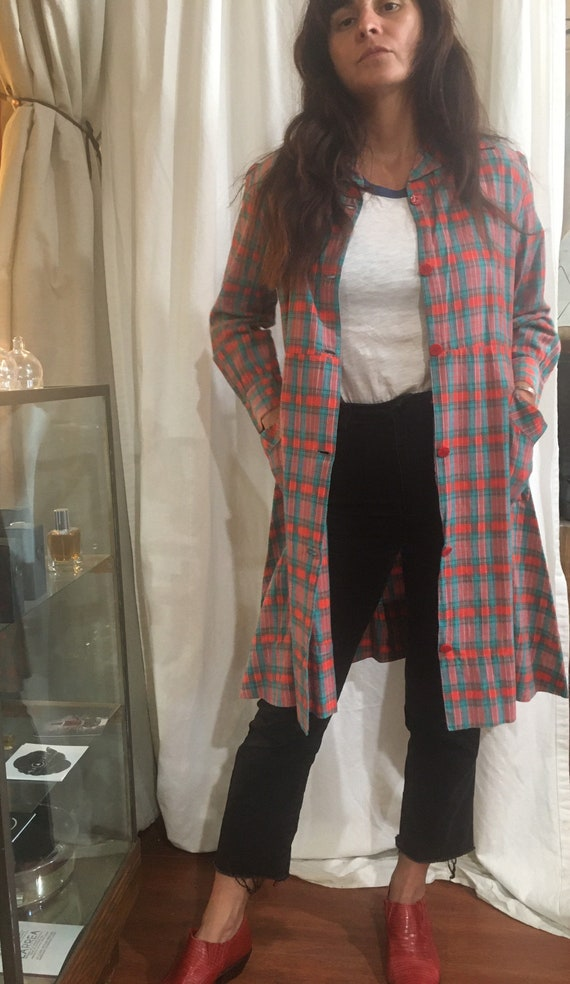 Vintage 1930's or 1940's red plaid French workwea… - image 4