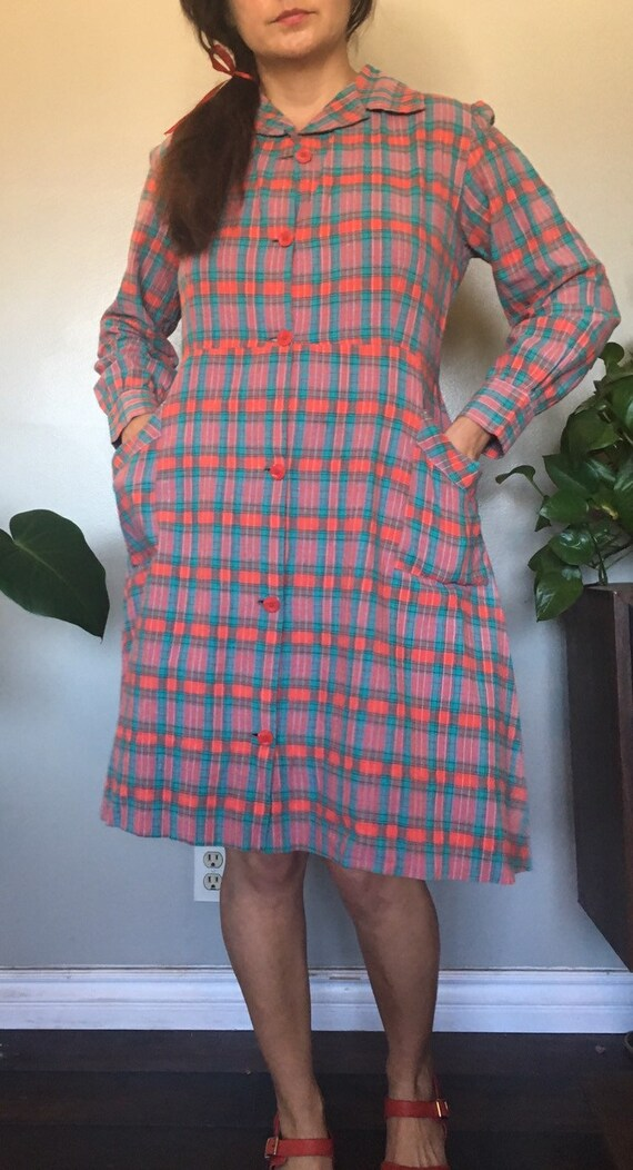 Vintage 1930's or 1940's red plaid French workwea… - image 2